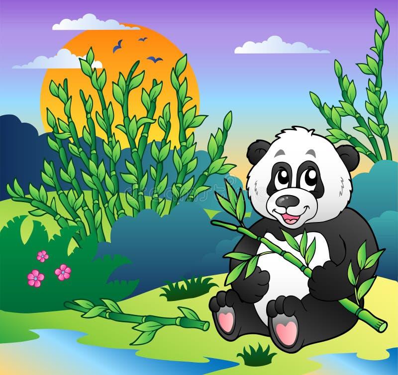 Panda dos desenhos animados na floresta de bambu ilustração do vetor
