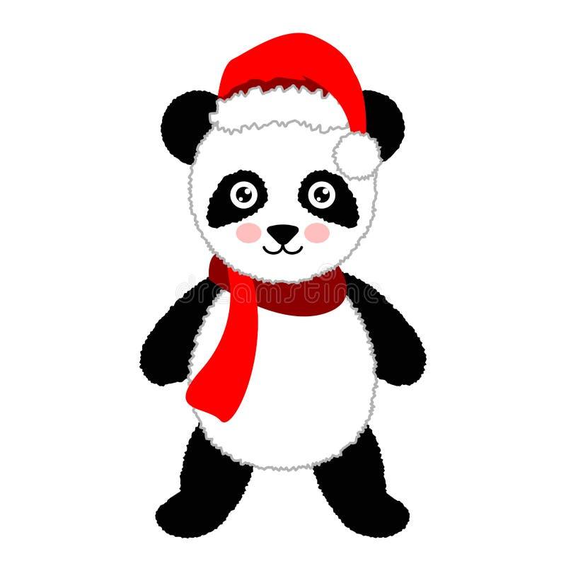 Panda dos desenhos animados que veste o chapéu de Santa Ilustração do vetor ilustração do vetor
