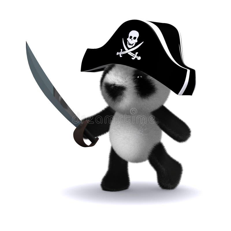 panda du pirate 3d illustration libre de droits