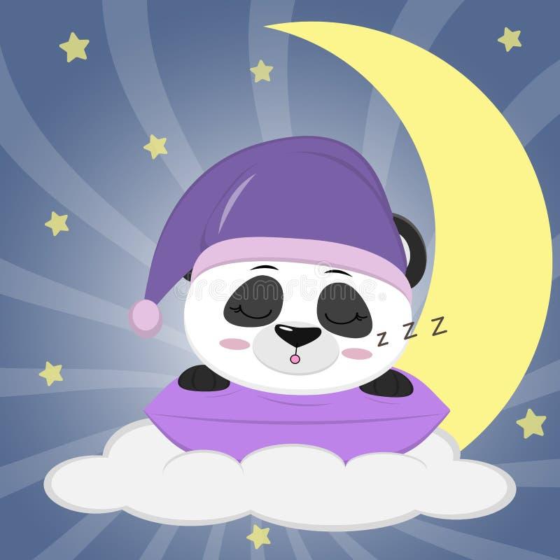 Panda dulce en un sombrero violeta para dormir, durmiendo en una almohada Mentiras en una nube y una luna grande contra la perspe stock de ilustración