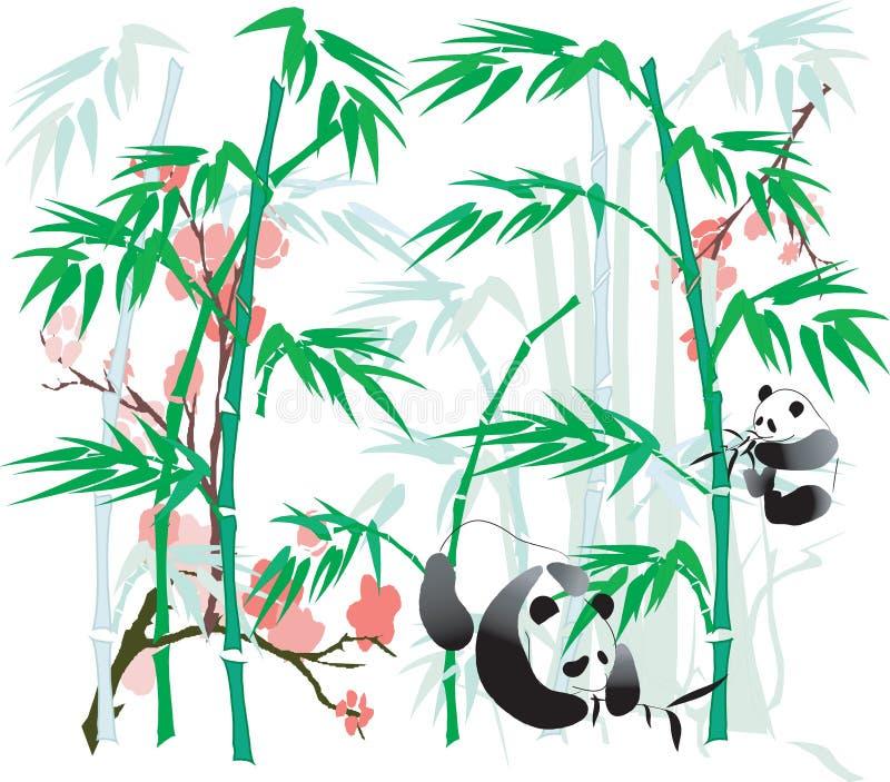 Panda e bambu. ilustração stock