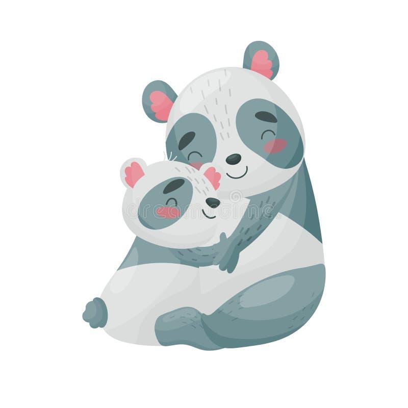 Panda e filhote da mamã Ilustra??o do vetor no fundo branco ilustração do vetor