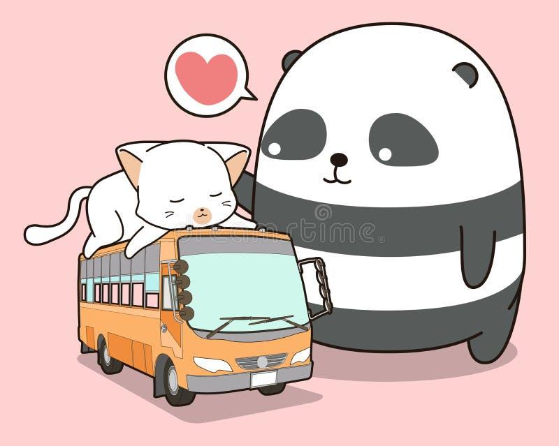 Panda e gatto svegli che è sul bus royalty illustrazione gratis