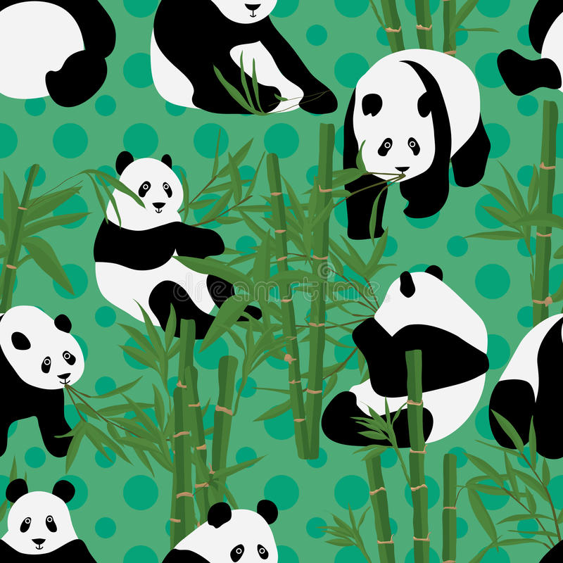 Panda eat bamboo seamless pattern. This illustration is design and drawing cute panda eat bamboo in seamless pattern with dotted background vector illustration