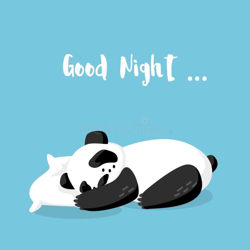 Panda el dormir de la historieta en la almohada Buenas noches Vector stock de ilustración