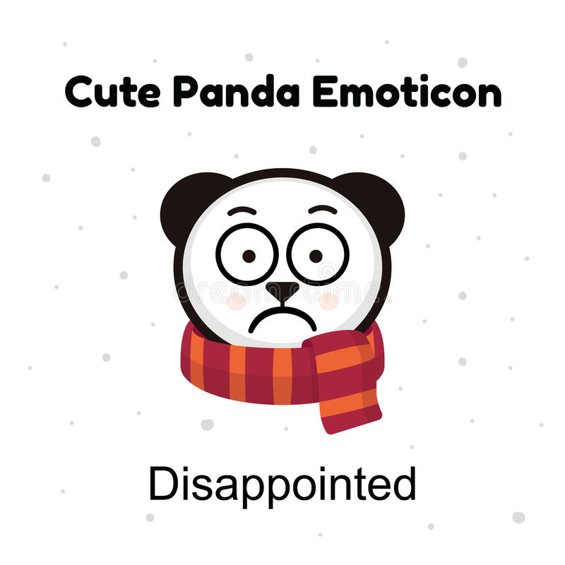 Panda Emoji triste Tristeza do urso do chinês ou emoção desapontado isolada ilustração do vetor