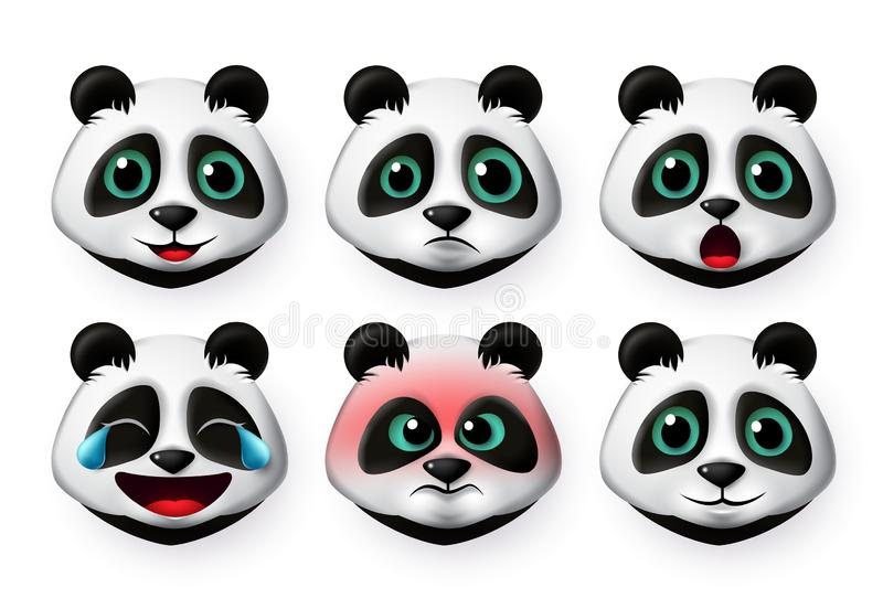 Panda emoji vector set. Big cute panda bear face emoticon in angry and happy emotions for character collection. royalty free illustration
