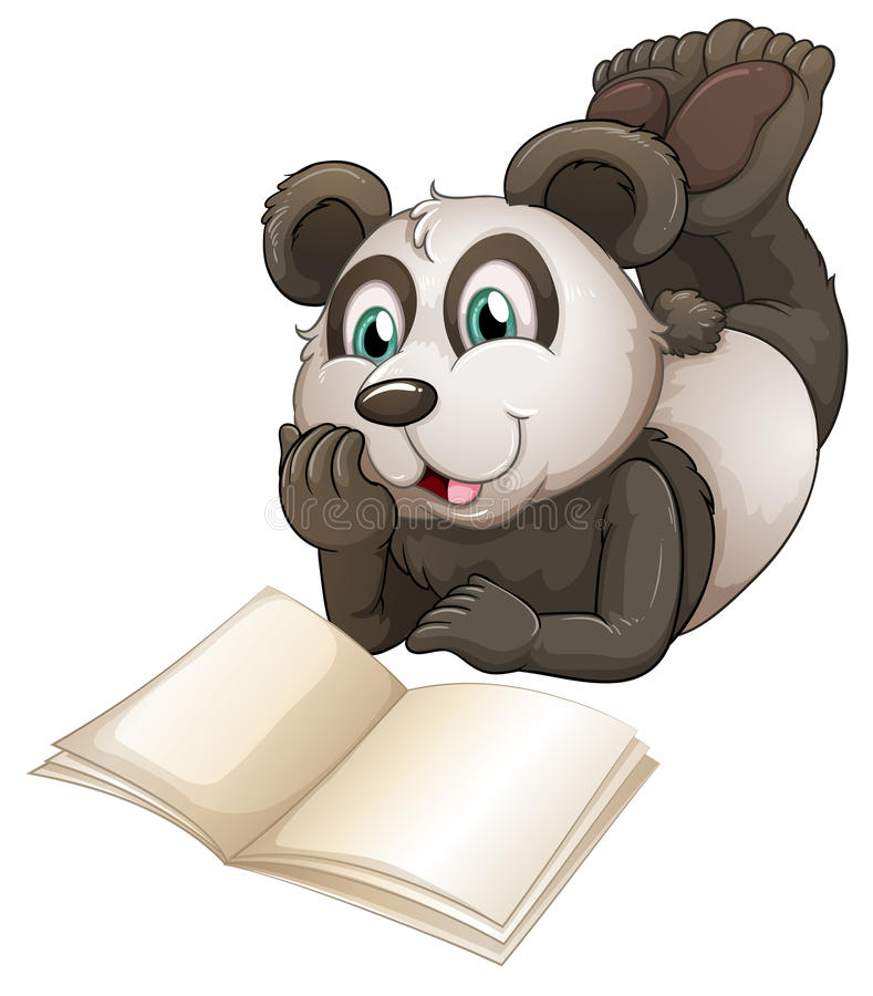 A panda with an empty book vector illustration