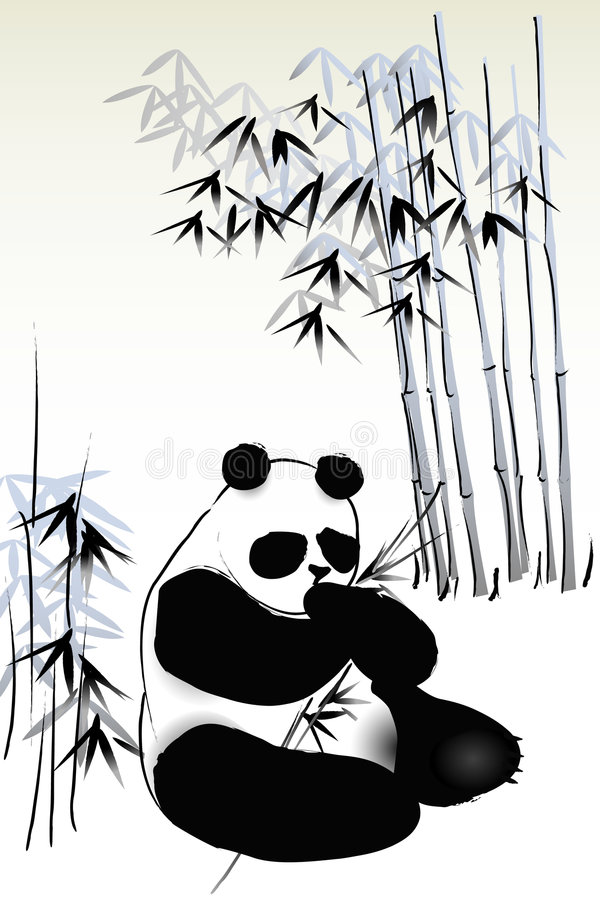 Panda en bambou illustration stock