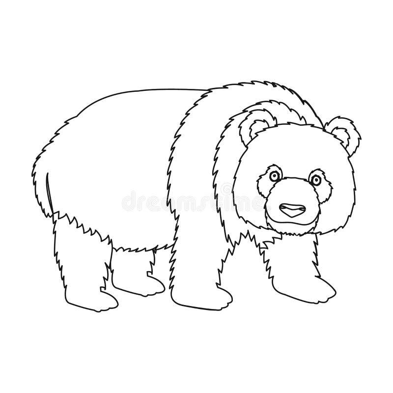Panda en bambubjörn Pandan sällsynt art av den enkla symbolen för djuret i symbol för översiktsstilvektor lagerför illustrationre vektor illustrationer