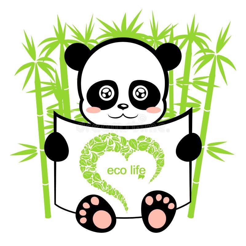 Download Panda En El Bosque De Bambú Ilustración del Vector - Ilustración de asiático, hoja: 42431898