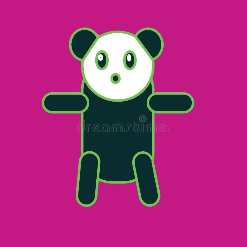 Panda en el fondo púrpura para el papel pintado del niño, postal imagen de archivo libre de regalías