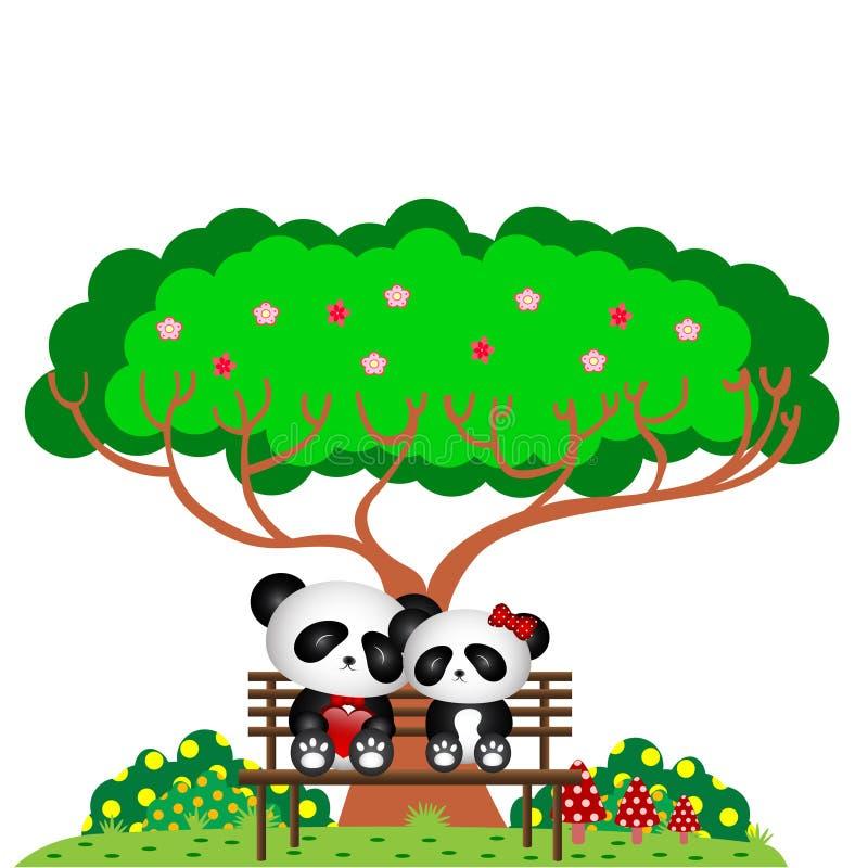 Panda en el parque que se sienta en un banco debajo de un árbol libre illustration