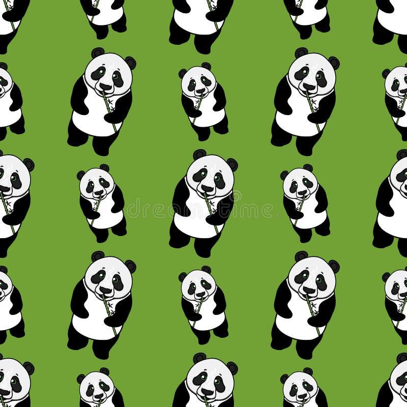 Panda entera salvaje que come el modelo inconsútil de bambú Ejemplo exhausto de la mano del vector en verde Diseño superficial stock de ilustración