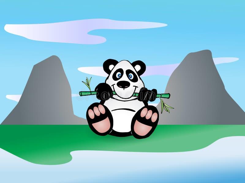 Panda Essen Bambusblatt Lizenzfreies Stockbild