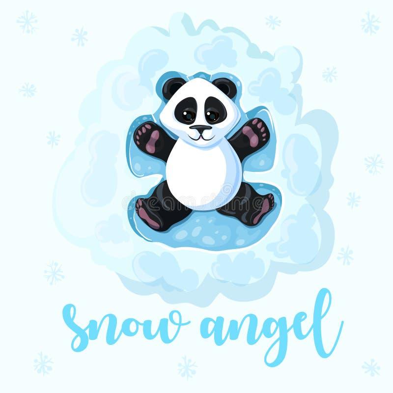 A panda está encontrando-se na neve que joga anjos da neve Criando um anjo na neve ilustração stock