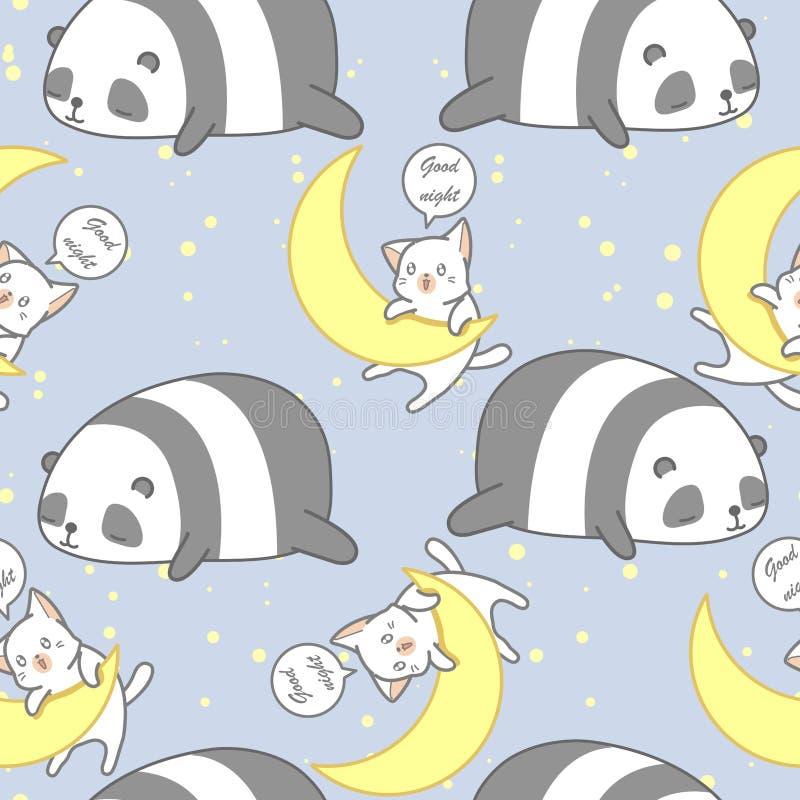 Panda et chat sans couture dans le modèle de thème de bonne nuit illustration de vecteur