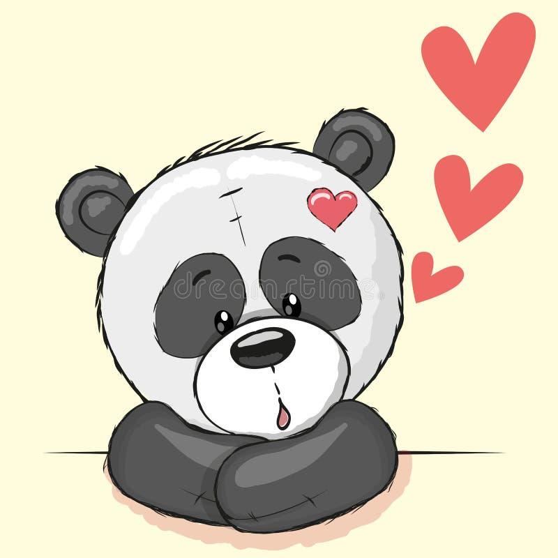 Panda et coeurs illustration stock