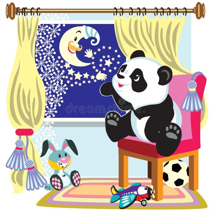 Panda et lune de bande dessinée illustration de vecteur
