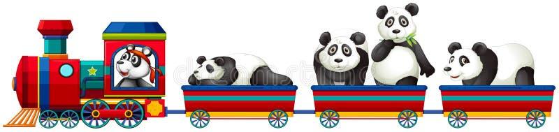 Panda et train illustration libre de droits