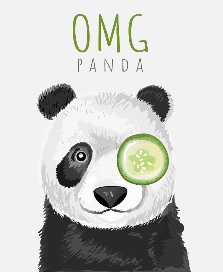 Panda exhausta del lema y de la mano de la tipografía con el pepino para imprimir, camiseta stock de ilustración