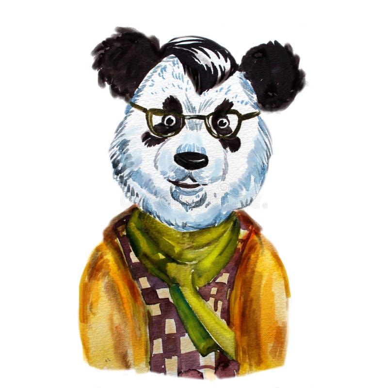Panda för hipster för vattenfärgstående gullig stock illustrationer