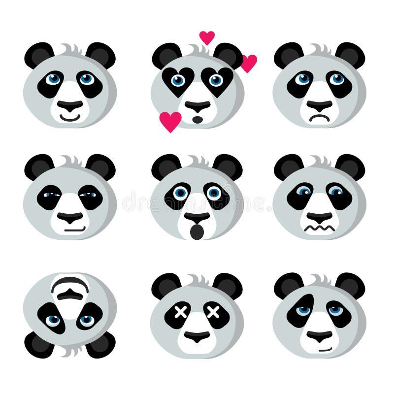 Panda för leendesymbolsemoticons arkivfoto