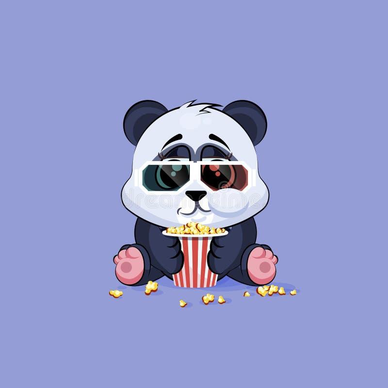 Panda för tecknad film för illustrationEmoji tecken som tuggar popcorn, hållande ögonen på film i klistermärkeemoticon för expone royaltyfri illustrationer