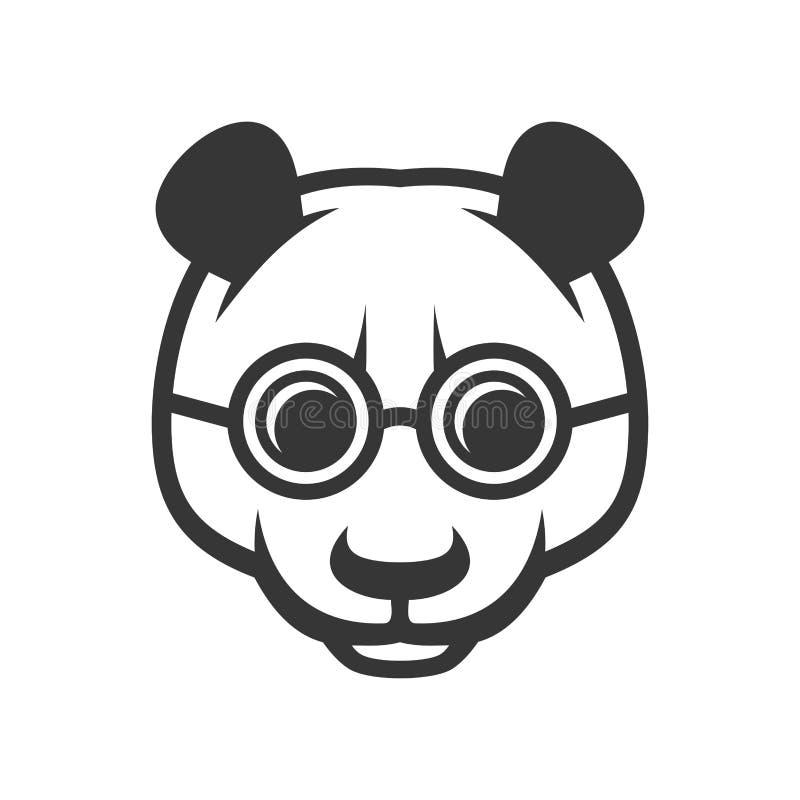 Panda Face bonito com logotipo do ícone dos vidros Vetor ilustração royalty free