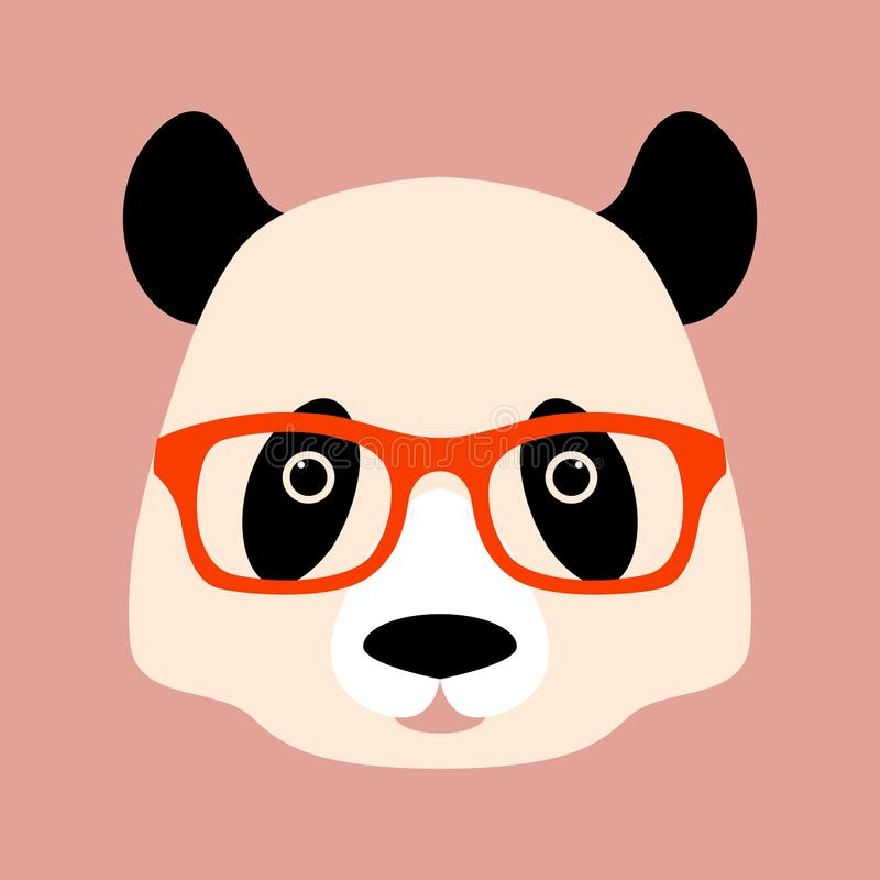 Panda face in glasses vector illustration style flat royalty free illustration