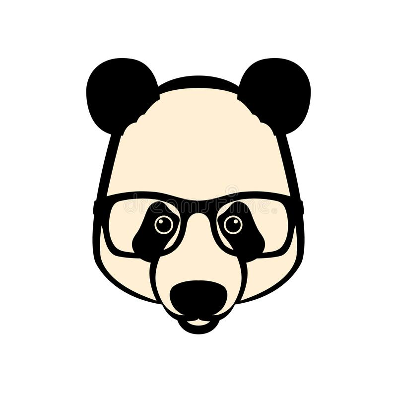 Panda face in glasses vector illustration style flat vector illustration