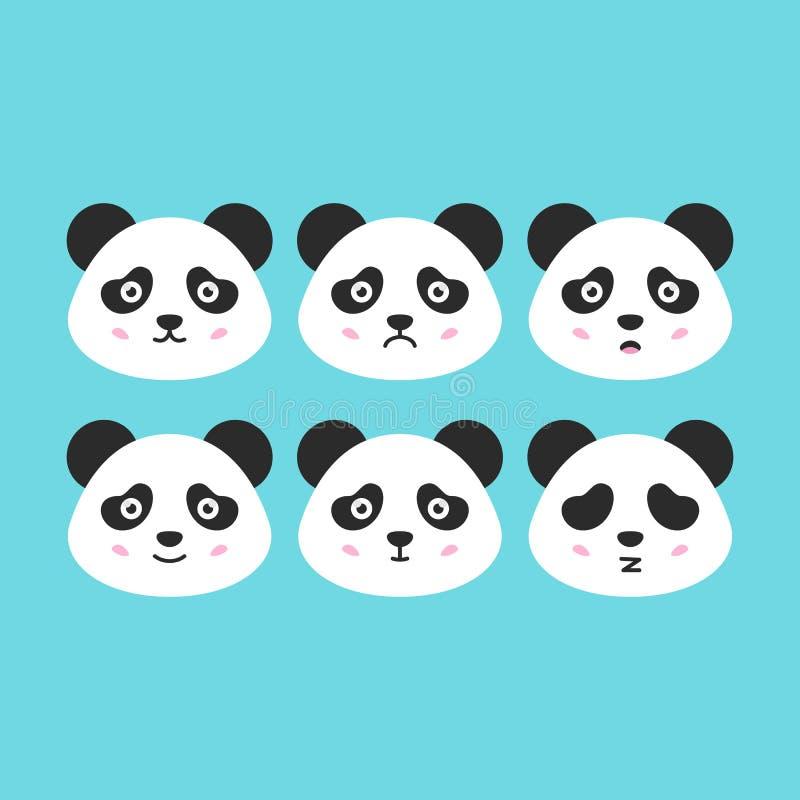 Panda Faces plano libre illustration