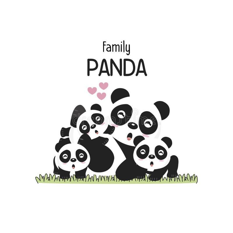 Panda Family Father Mother y bebé lindos Ilustración del vector libre illustration