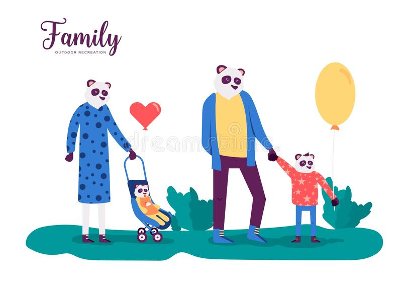Panda family outdoor activities vector web banner concept vector illustration