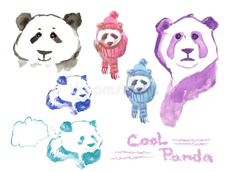 Panda frais - ensemble de pandas d'aquarelle illustration de vecteur
