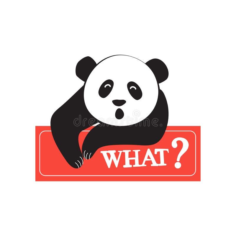 Panda fresca en el estilo de los tebeos Diseño para la etiqueta engomada, remiendo, cartel, diario personal Moda para los adolesc stock de ilustración