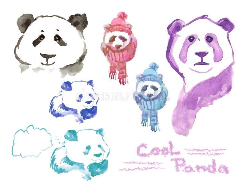 Panda fresca - sistema de pandas de la acuarela ilustración del vector