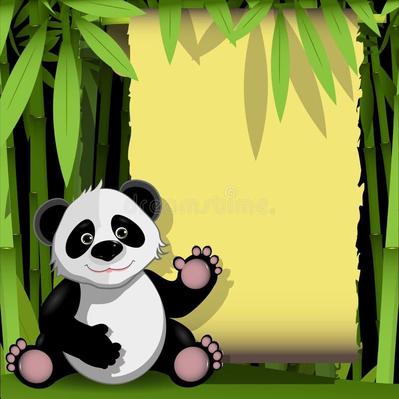 Panda gai dans une forêt en bambou illustration de vecteur