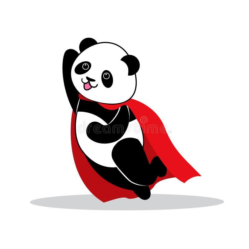 Panda gekleed als superhero met kaap vector illustratie