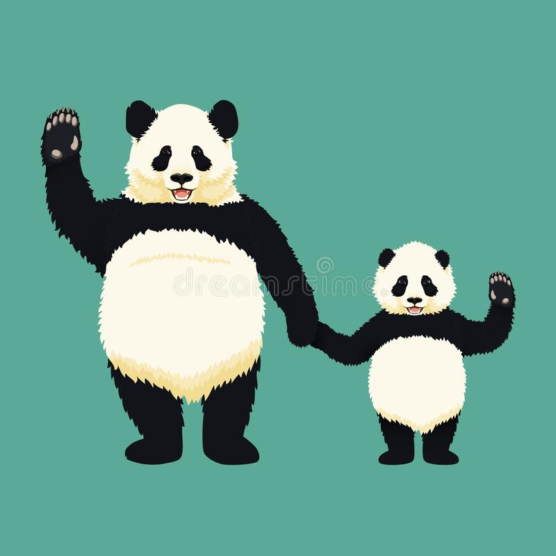 Panda gigante adulto e panda del bambino che sta tenentesi per mano ed ondeggiante Famiglia cinese dell'orso Madre o padre e bamb illustrazione vettoriale