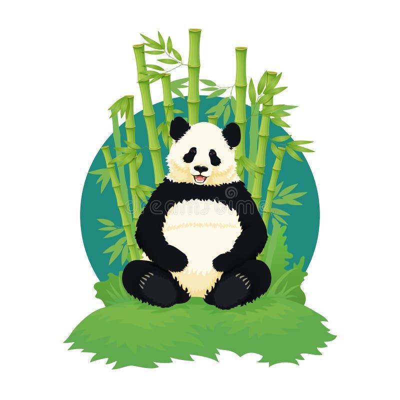 Panda gigante che si siede, rilassantesi e sorridente con gli alberi di bambù nei precedenti orso in bianco e nero Specie in peri illustrazione vettoriale