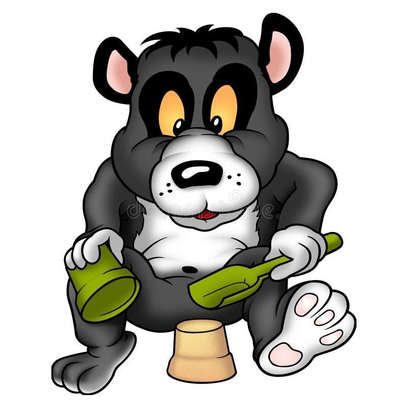 Panda gigante e torta da lama ilustração stock