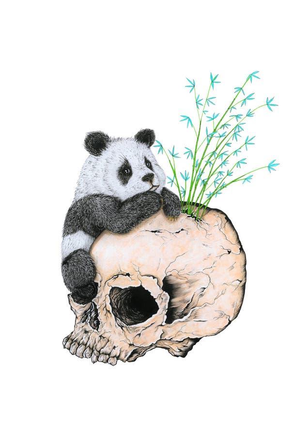 Panda gigante en el cráneo humano stock de ilustración