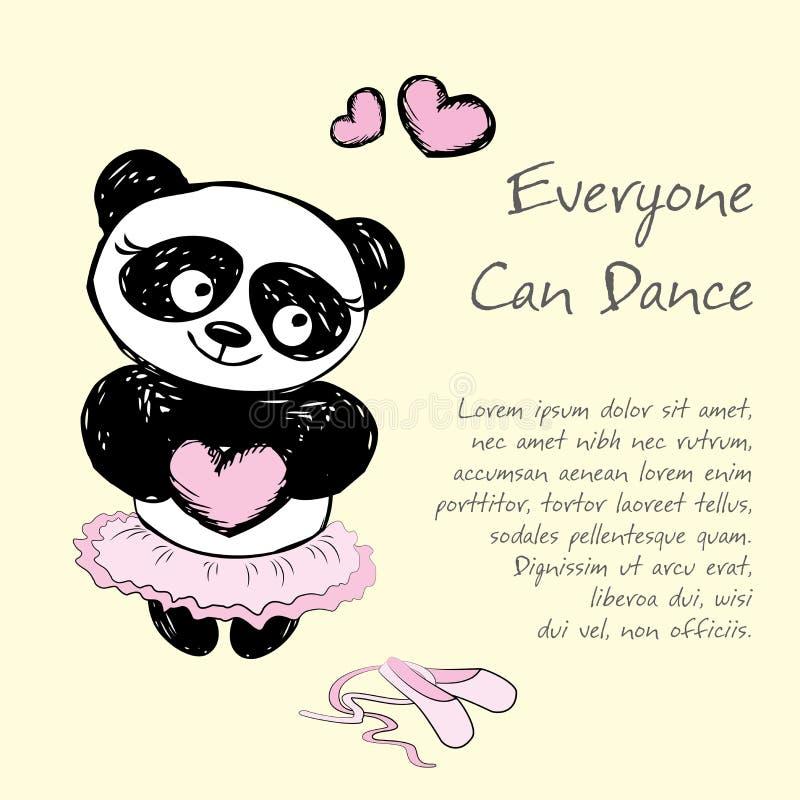 Panda Girl balettdansör, vektorillustrationbakgrund stock illustrationer