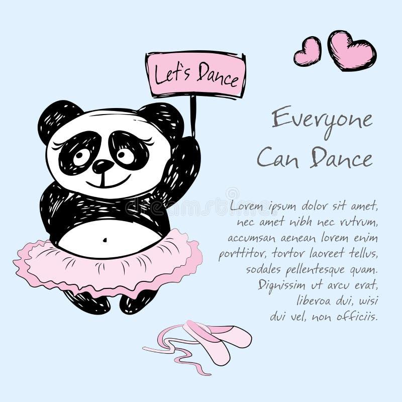 Panda Girl balettdansör, vektorillustrationbakgrund vektor illustrationer