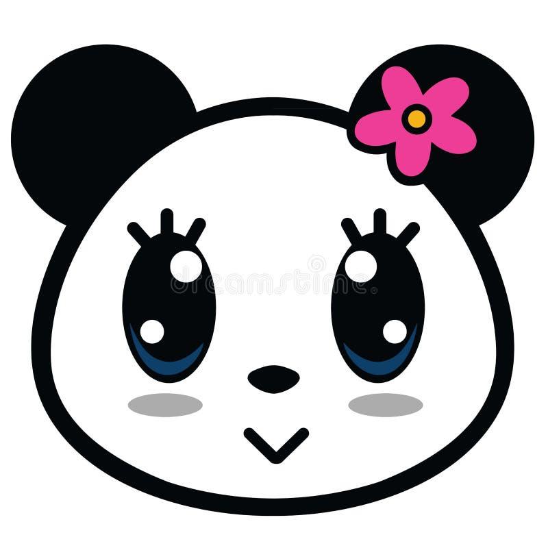Panda Girl Cartoon Vector mignon illustration libre de droits