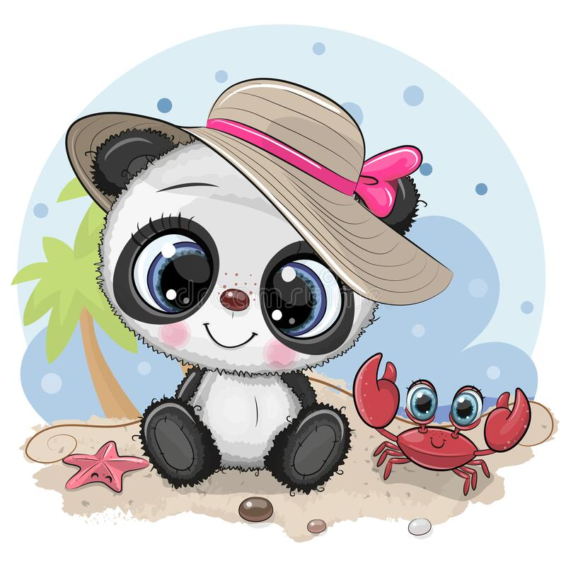 Free Panda Girl In A Hat And Cute Crab On The Beach Stock Image - 175974241