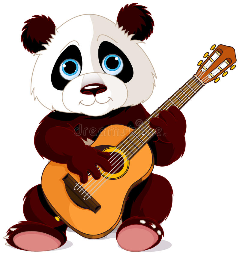 Panda guitarist royalty free illustration