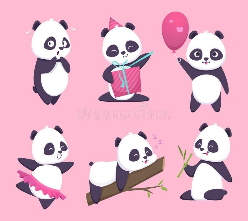 Panda Gulligt roligt djurt tecken för björn i samling för skogvektortecknad film vektor illustrationer