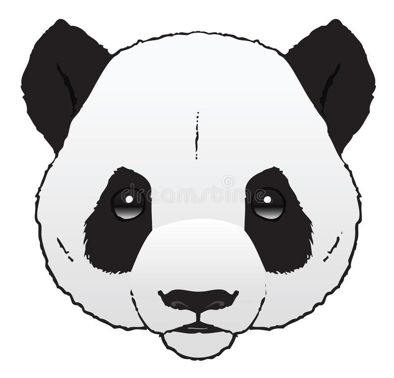 Panda. A hand-drawn ink illustration of a pandas head stock illustration